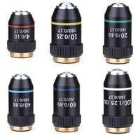 195 preto acromático objetivo 4x 10x 20x 40x 60x 100x alta qualidade microscópio lente objetiva rms 20.2mm peças objetivas