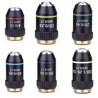 195 schwarz Achromatische 4X 10X 20X 40X 60X 100X Hohe Qualität Mikroskop Ziel Objektiv RMS 20 2mm Ziel Teile