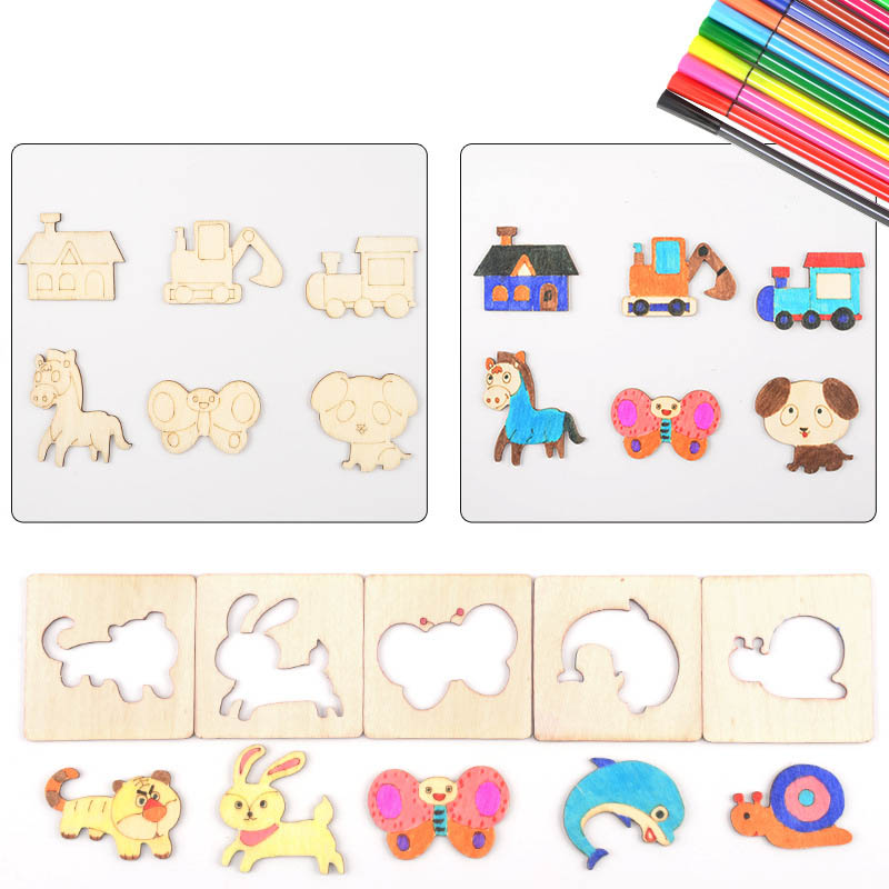60Pcs Board School Paint Tools Educational Coloring Book Paint Learning Coloring Board Drawing Noard Wooden Drawing toy