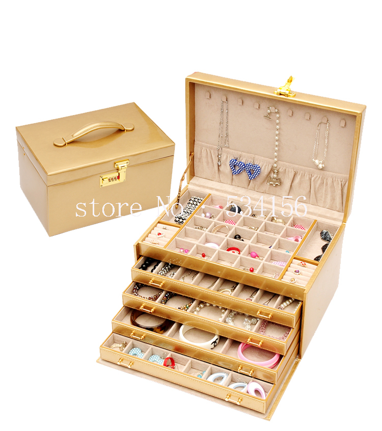 Free shipping Super big luxury leather jewelry box earrings watch