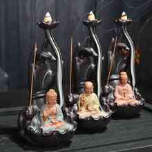 Backflow Incense Burner Ceramic Little Monk Stick Holder Aromatherapy Buddha Censer Ganesha Smoke Waterfall