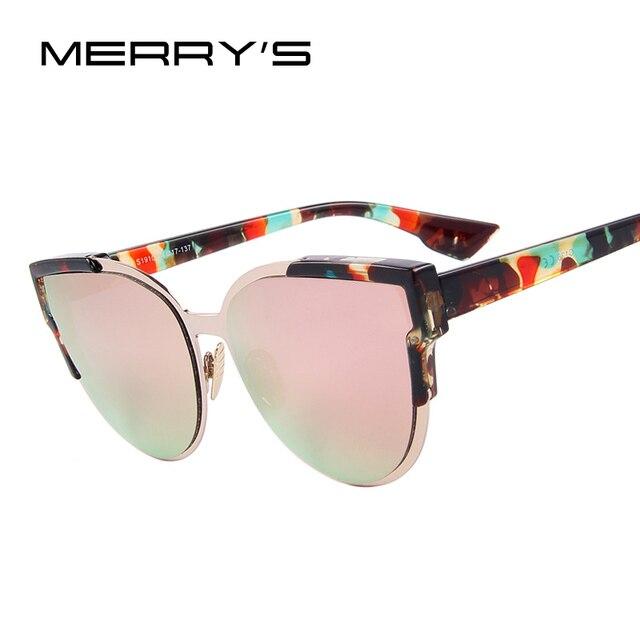 Merry's модные женские туфли Солнцезащитные очки для женщин Кот зеркало Очки металлический кошачий глаз Солнцезащитные очки для женщин Для женщин Брендовая Дизайнерская обувь Солнцезащитные очки для женщин s'8392