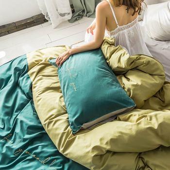 Dunkelgrüne Bettwäsche | 2019 Kurze Dunkle Grün Gelb INS Stickerei Bedlinens Künstliche Seide Satin Bettbezug-set Königin König Bettlaken Bettwäsche Set