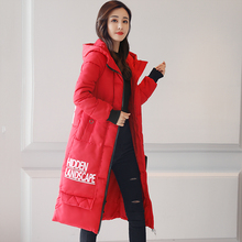 2017 Free Shipping Winter Jacket Women New Letter Hooded Coat Long Wear Down Cotton Women's Slim Casual Coats