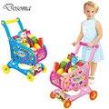 Niños play house toys puzzle supermercado pretend play toys toys simulación muebles carro con frutas y verduras
