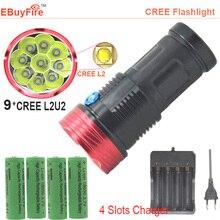 9 x XM L2 U2 led flashlight 18650 waterproof 9L2 torch 18000LM+rechargeable 4pcs 18650 + charger