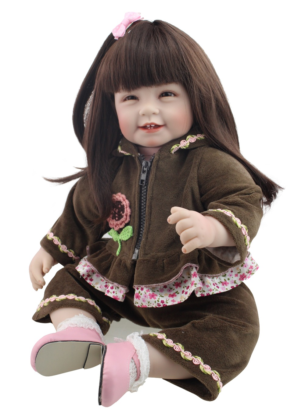 2016 NEW design hot sale lifelike reborn todder girl doll long wig wholesale baby dolls fashion