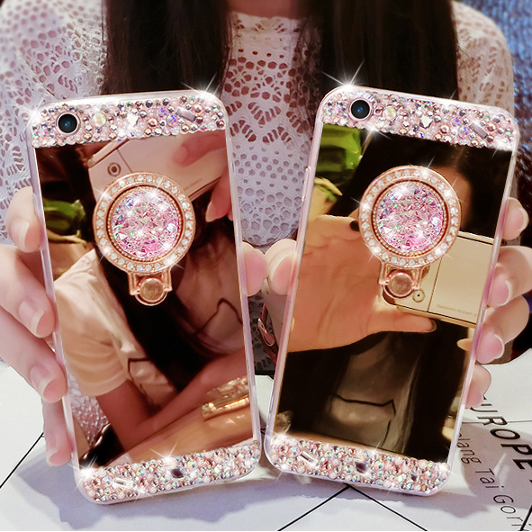 HOT Mirror cases for Samsung galaxy J3 J7 J5 2017 2016 Prime J8 J4 J6 Plus 2018 Note 9 Glitter Crystal Ring Stand coque Fundas