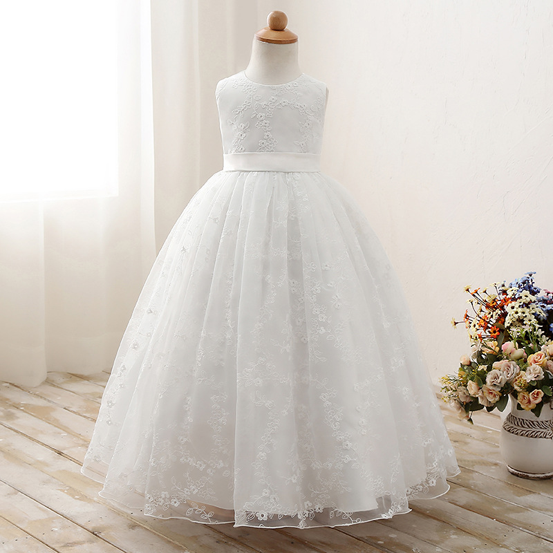 Girls Pageant Formal Dresses Gauze Gowns Flowers Girls Princess Tutu Dress Kids Party Wedding Dresses L209