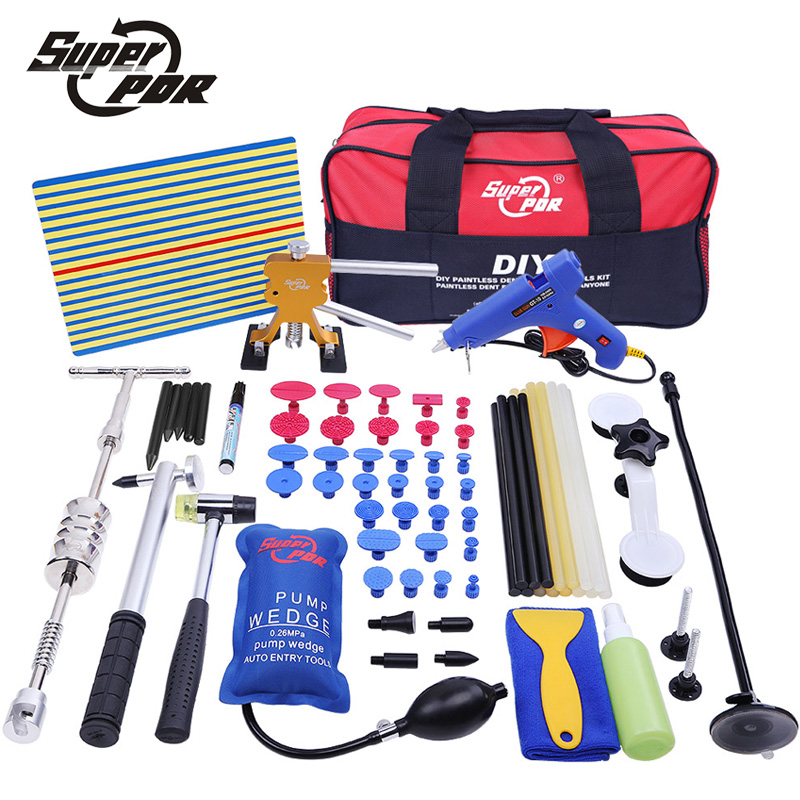 PDR tool kit Paintless Dent repair removal tools bag yellow line Reflector board 2in1 dent lifter dent puller glue gun hand tool whdz 64pcs pdr tool dent lifter paintless dent hail removal repair tools glue pdr tool kit pdr pro tabs tap down line board