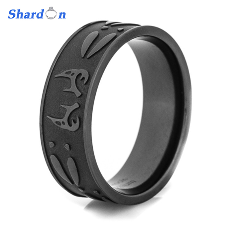 SHARDON Men's black Deer antler & tracks titanium ring Outdoor Hunting Engagement wedding band