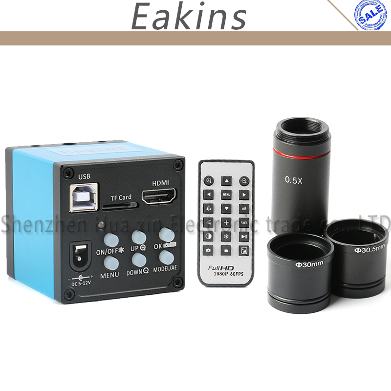 16MP HDMI 1080 p HD USB Numérique Industrie Microscope Caméra TF Carte Vidéo Enregistreur + 0.5X C montage Oculaire Lentille + 30mm 30.5mm adaptateur