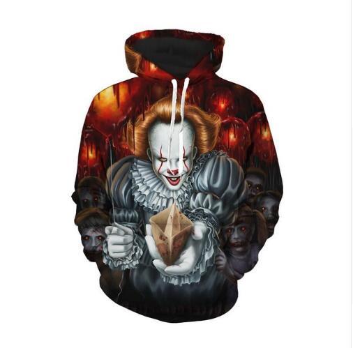 3d Print It Pennywise Clown Stephenmovie Cosplay Hoodies King Horror Sportswear Men's Clothing