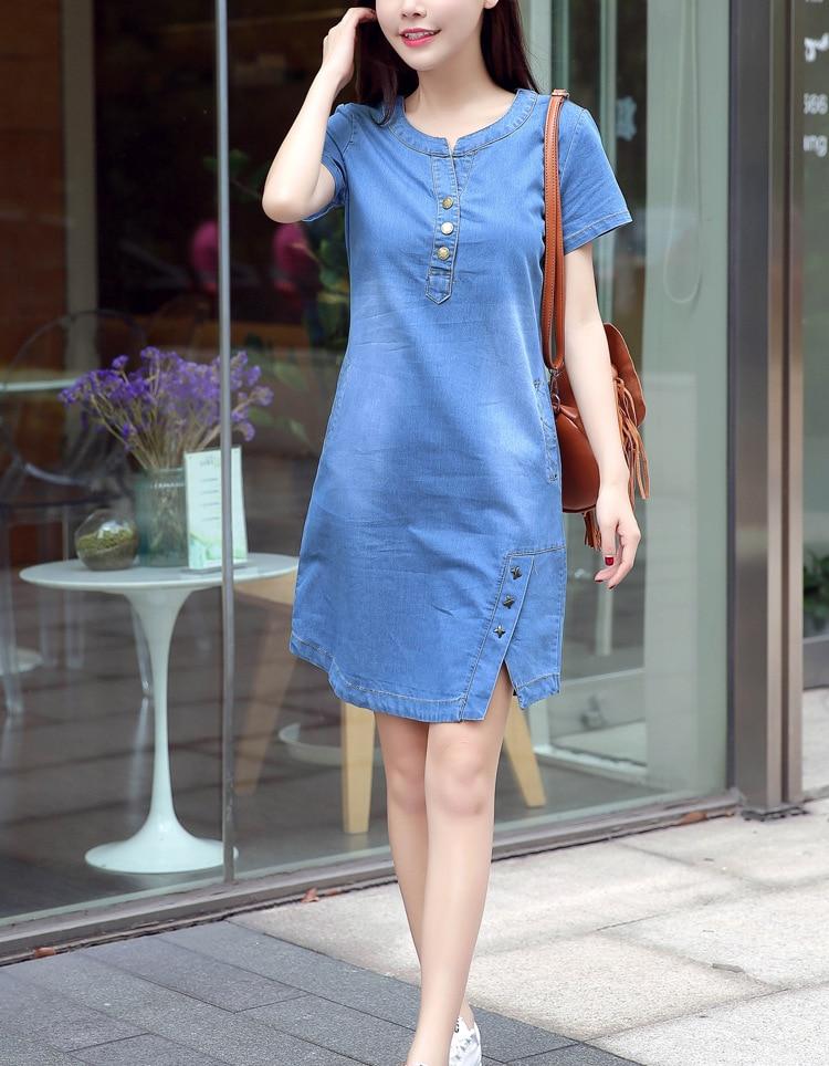 Plus Size 3XL Jean Dress Women 2019 Summer Denim Dresses Large Sizes Casual  O Neck Double Pockets Sequined Elegant Beach Dress