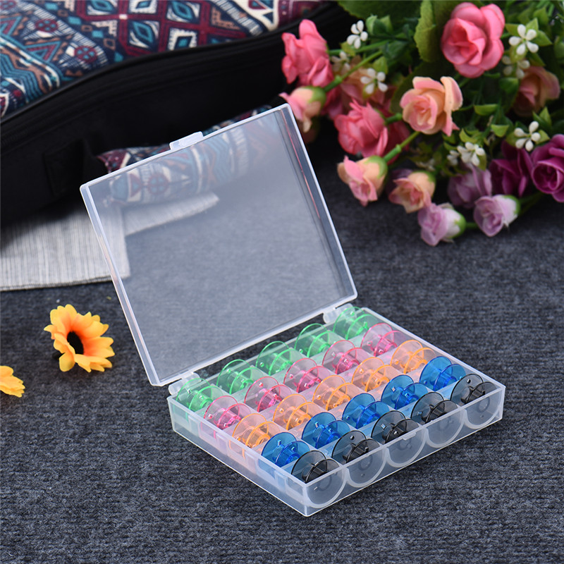 25Pcs Set Bobbins Box Set Sewing Machine Spools Colorful Plastic Metal And Case Storage Box Sewing Equipment Tools Accessories in Sewing Tools Accessory from Home Garden
