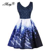 IPretty Plus Size 50s 60s Vintage Women Dress Christmas Trees Stars Print V Neck Sleeveless Elegant
