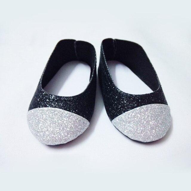 """Черный и серебристый блеск обувь для 18 """" американская девочка куклы"""