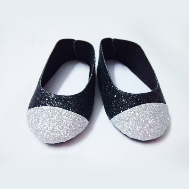 d626a512a011e Black & Silver Glitter Shoes made for 18