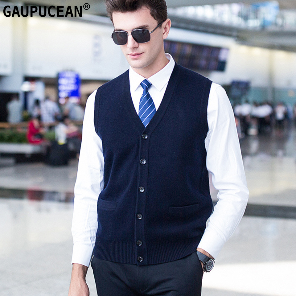 100% Pure Wool Men Sleeveless Cardigan Sweater Knitting Navy Gren Red Knitwear Male V-Neck Casual Man Knitted Woolen Vest