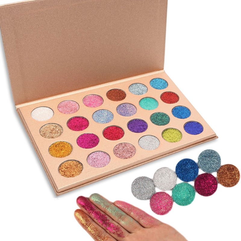 24 Colors Glitter Eyeshadow Diamond Rainbow Make Up Cosmetic Pressed Glitters Eye Shadow Magnet Palette Makeup Set For Beauty