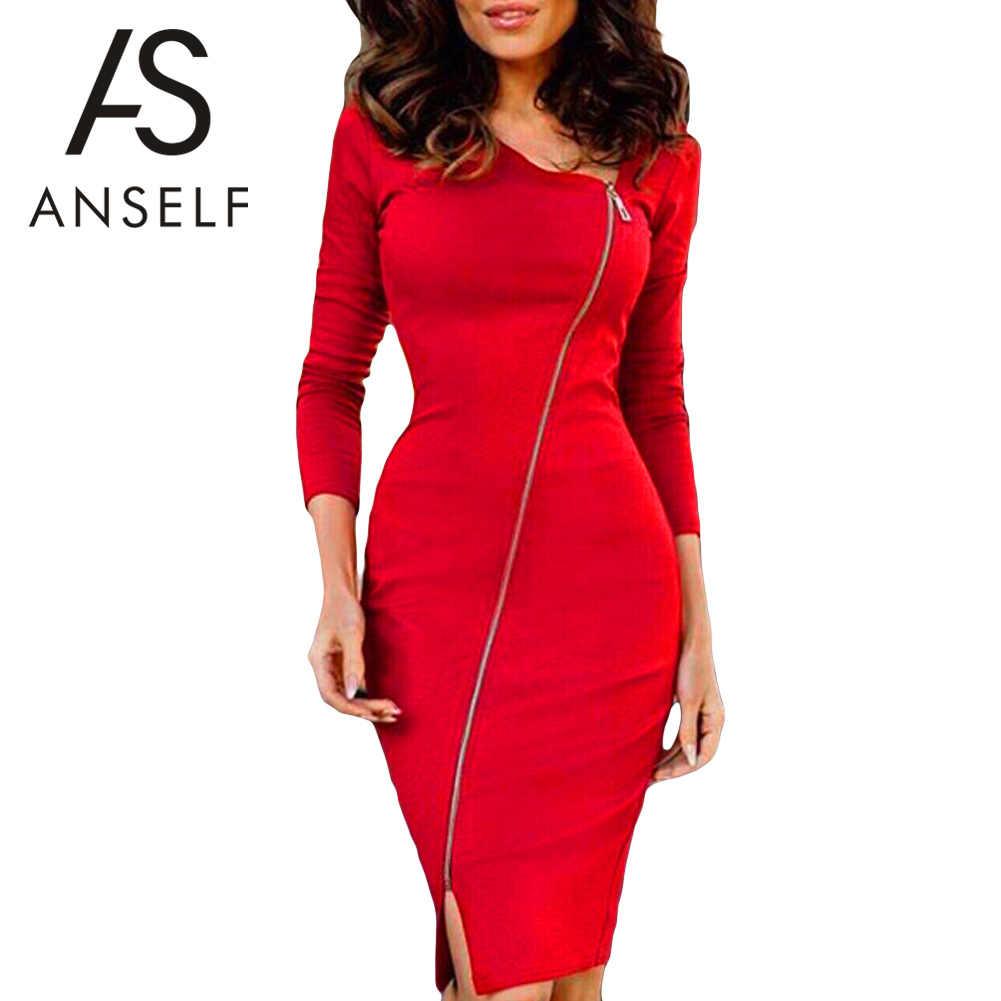 ff94632733 Anself Sexy Women Bodycon Dress Irregular Neck Long Sleeve Front Zipper  Sheath Pack Hip Dress Slit