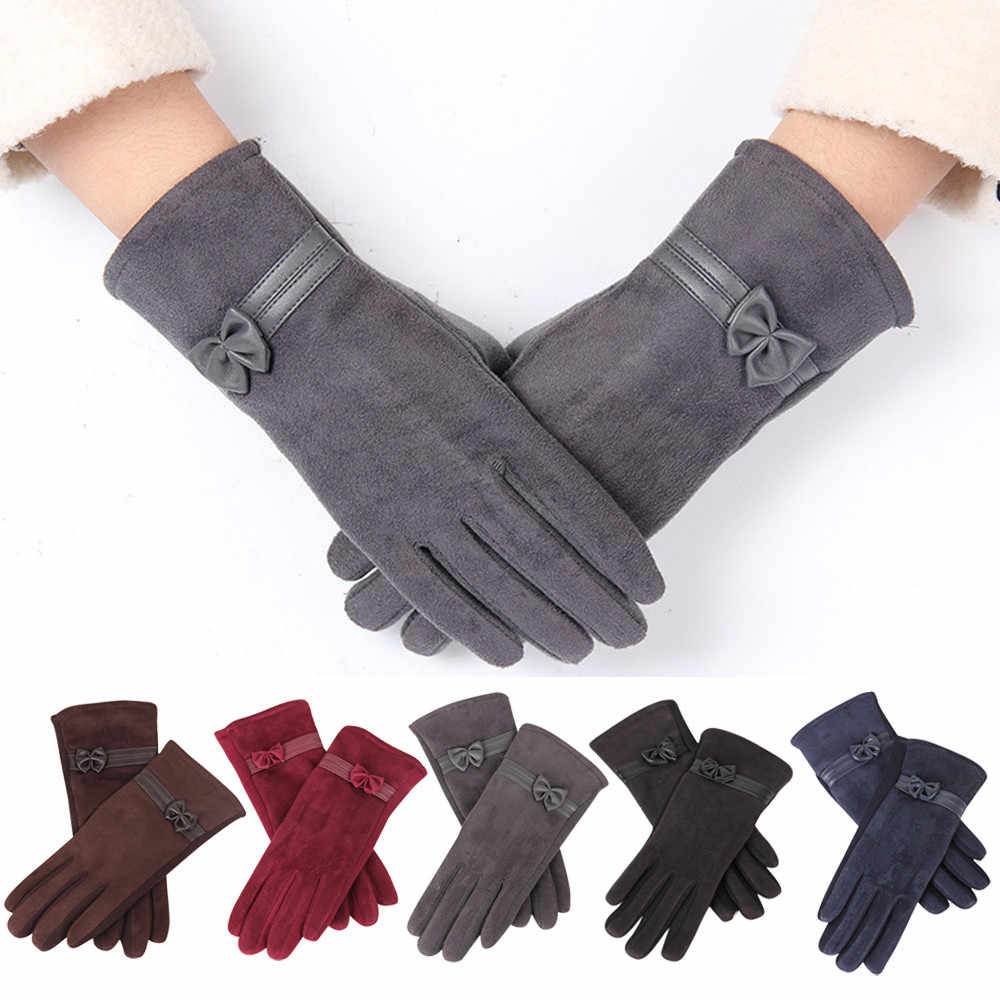 KANCOOLD winter gloves women fashion 1 Pair uede Cute Bow Full Finger Touch creen Warm Mitten Driving ki Riding Windproof PSEPO2