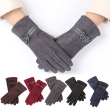 KANCOOLD winter gloves women fashion 1 Pair uede Cute Bow Full Finger Touch creen Warm Mitten Driving ki Riding Windproof PSEPO2(China)