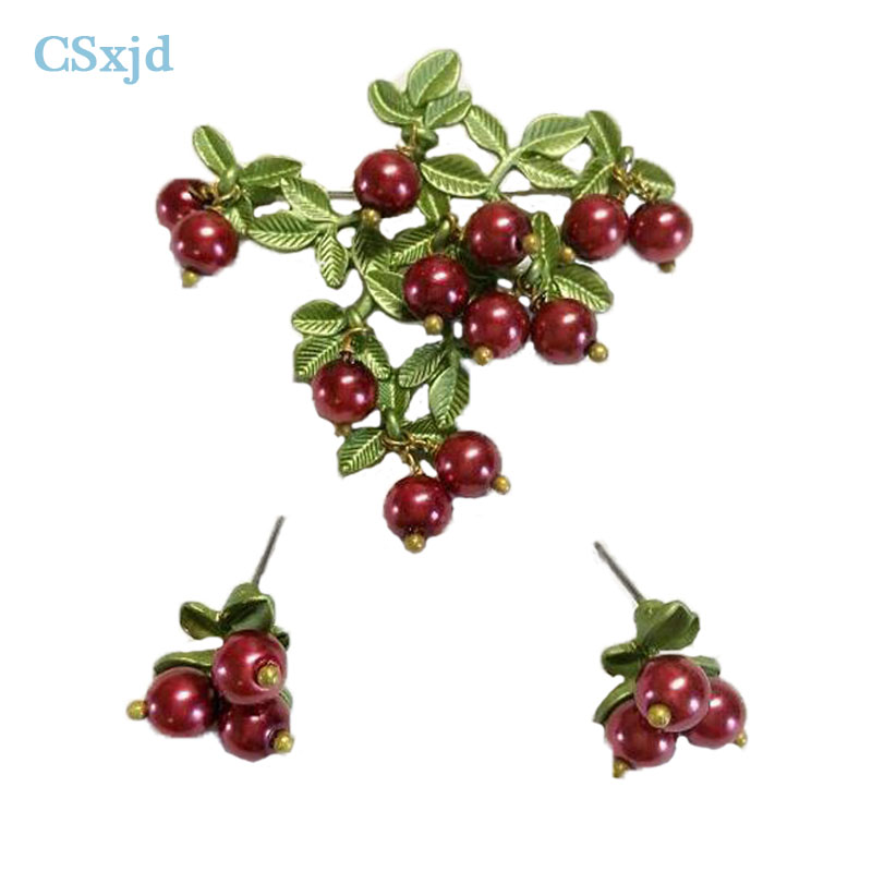 CSxjd New Vintage Brooch Jewelry Imitation Pearl Cranberry Brooch Scarves Buckle Accessories