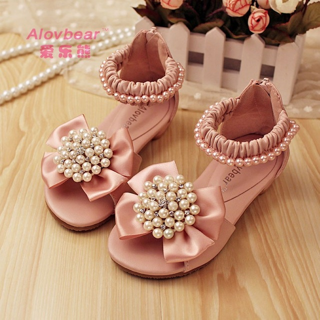 Girls summer pearls bow Sandals baby