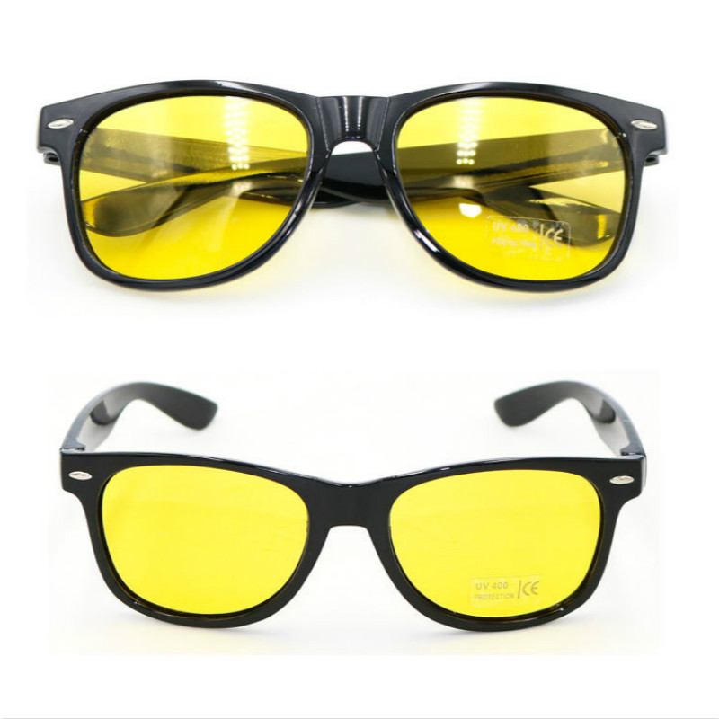 Unisex Square Yellow Lenses Night-Vision Glasses Driving Glasses Men Women Windproof Driving Goggle