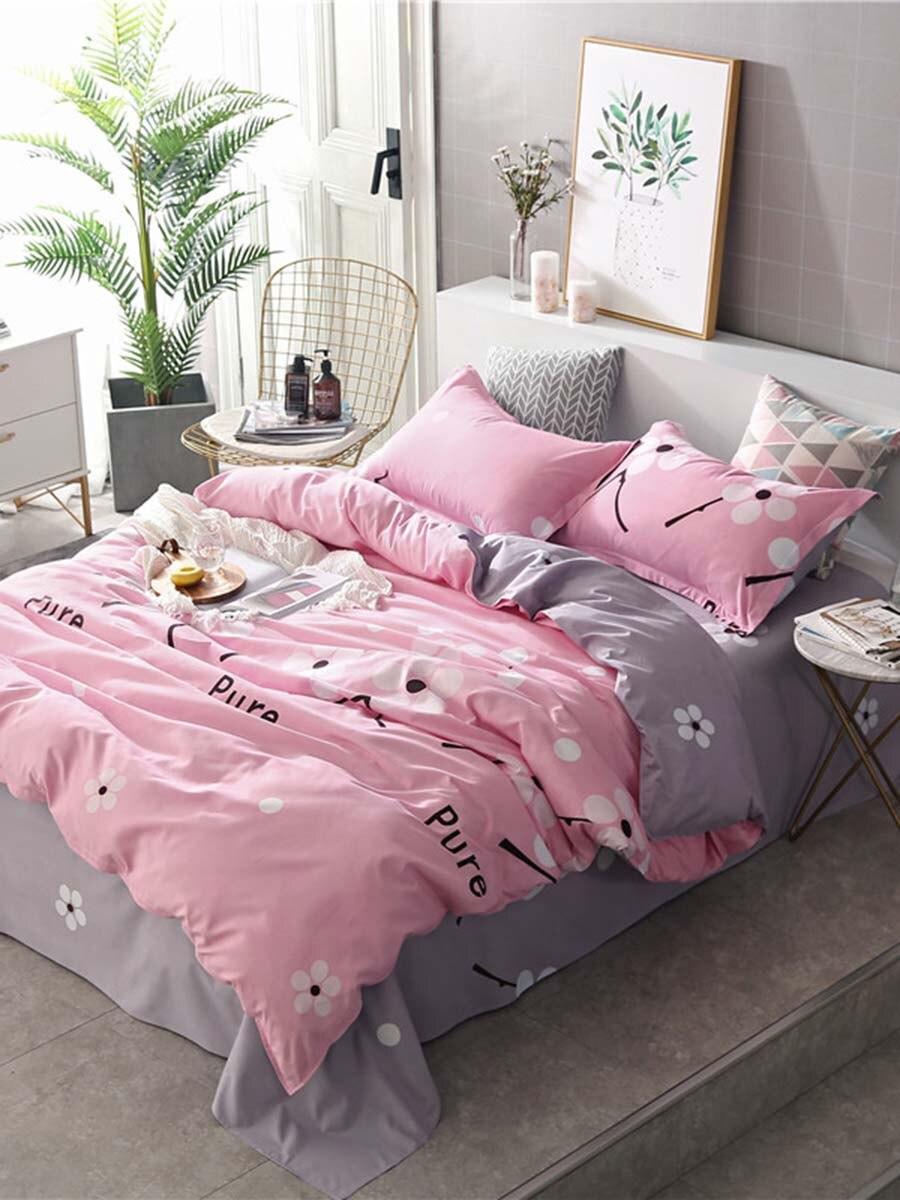 4Pcs/3Pcs Bed Linen Set Letter Pattern Fresh Simple Style Comfortable Beddings 4Pcs/3Pcs Bed Linen Set Letter Pattern Fresh Simple Style Comfortable Beddings