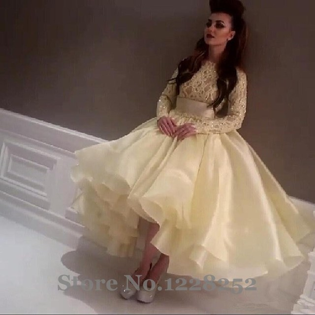 b79cb66c84d Saudi Arabia Singer Myriam Fares High Low Ruffle Prom Dresses Long Sleeve  Beaded Lace Backless Yellow Organza Pageant Dresses