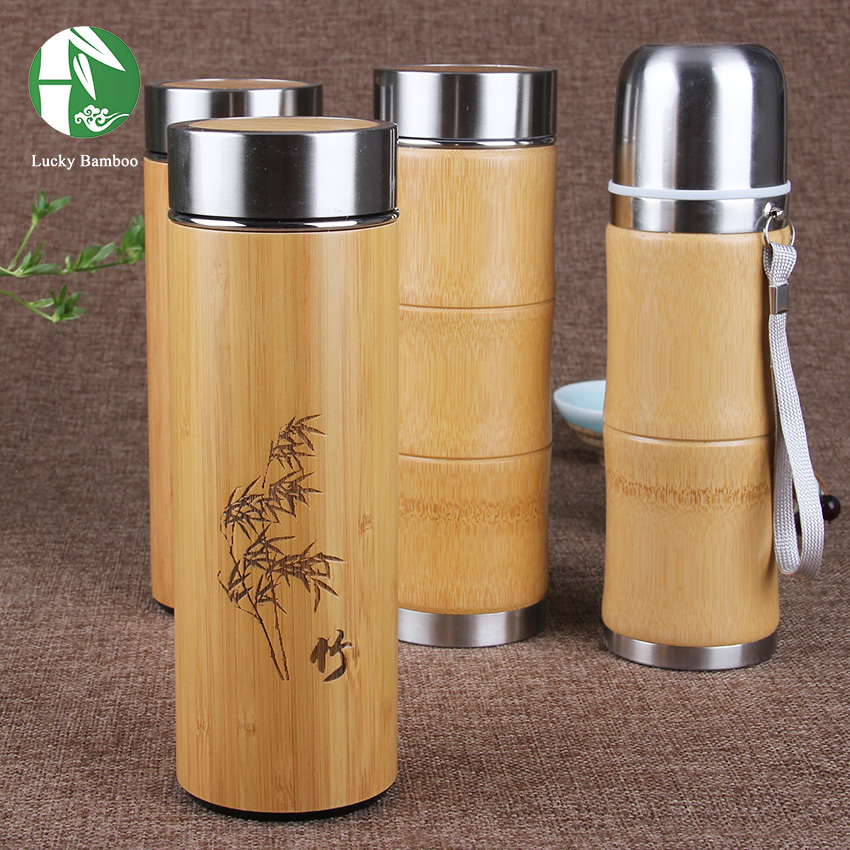 Bamboo thermal cup for water Stainless Steel Thermos cup for tea coffee Vacuum Flasks insulated termos