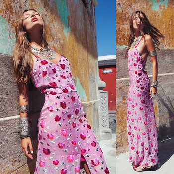 Women Luxury Love Marina Maxi Dress Flocking Roses Floral Cami Dress Summer Sexy Beach Maxidress  Ladies Spaghetti Straps Dress