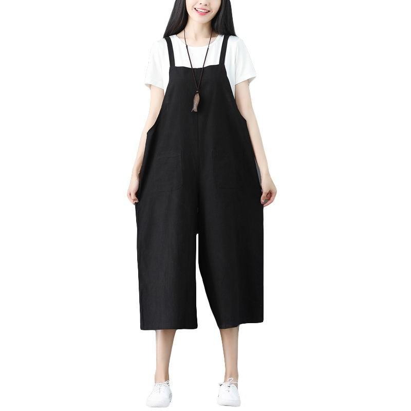 Verano Punto Pantalones Cintura Algodón Gran Mujeres Alta Las Lino Flojo Y De Tamaño Pierna Plus Nueve Tirantes Ancha pxq0CwAg