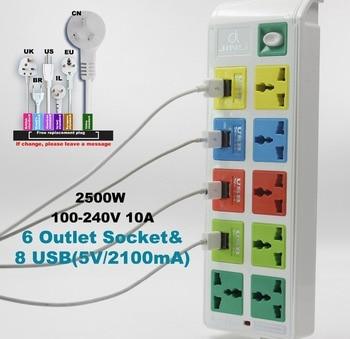 Surge Protected smart socket 6 Outlet Power Socket & 8 usb socket with EU UK US universal power strip