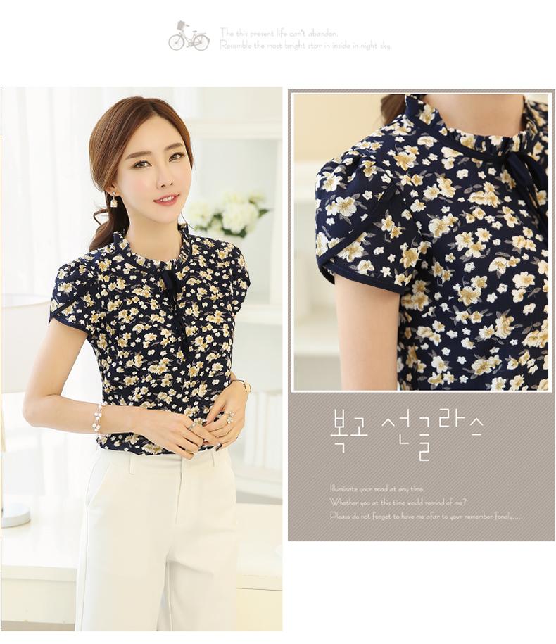 HTB1qlKDPVXXXXbZXFXXq6xXFXXXc - Summer Floral Print Chiffon Blouse Ruffled Collar Bow Neck Shirt