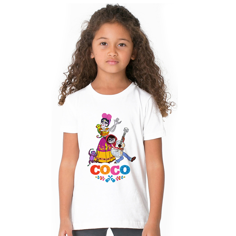 2018 New Coco Pixar Kids Girl T Shirt Cartoon Skull Guitar Children T-shirt Summer Fashion Tops Tees for Baby Girl Clothing monkids 2017 brand dot vest tops girls t shirt tees cartoon sling baby girl summer wear clothing girls blouse for 1 5y