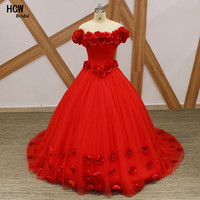 Amazing Red Flowers Long Evening Dress Boat Neck Cap Sleeve Princess Evening Gowns 2018 New Plus Size Arabic Party Dresses