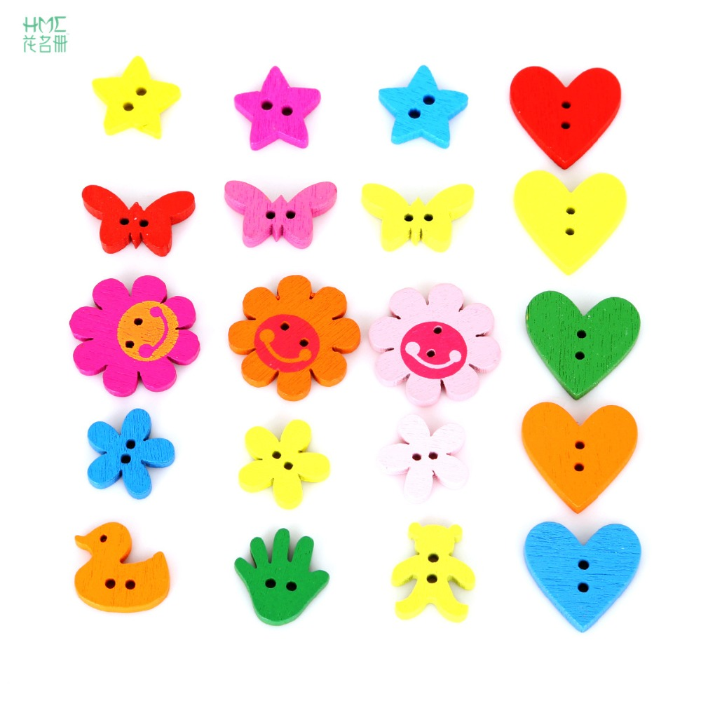 100pcs/bag 2 Holes Flower Butterfly Heart Shape Wood Button for Sewing Clothing Accessories DIY Craft Scrapbooking Making