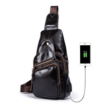 Fashion Genuine Leather Men Chest Bag Casual Male Oil Wax Leather Sling Bags Men's Messenger Shoulder Bag Crossbody Travel Bag цена и фото