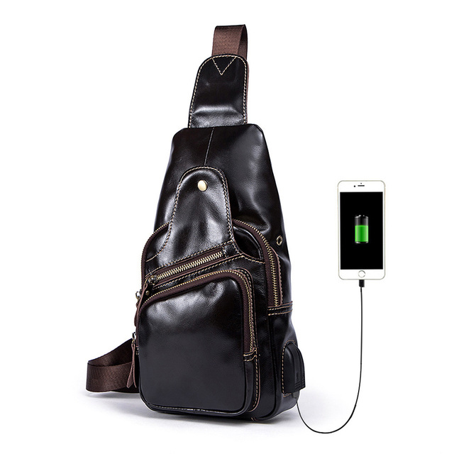 Fashion Genuine Leather Men Chest Bag Casual Male Oil Wax Leather Sling Bags Men's Messenger Shoulder Bag Crossbody Travel Bag