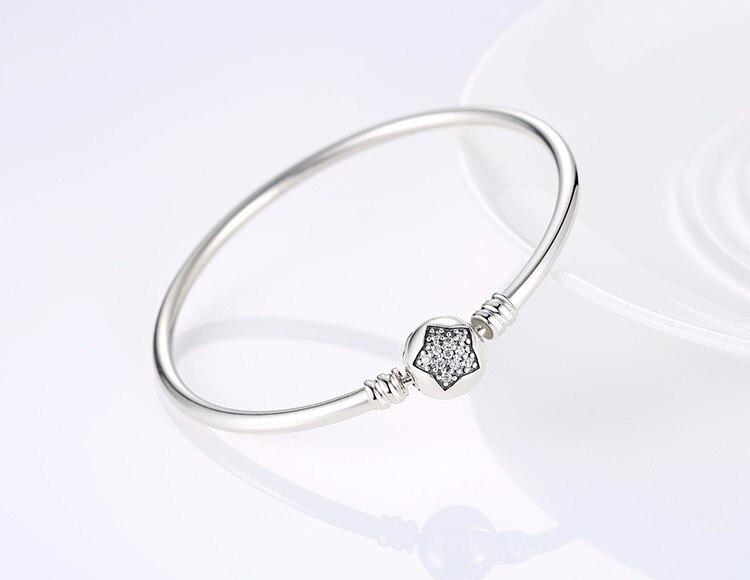 Pulseira 925 Sterling Silver Bracelet Femme Snowflake Heart Blue Eye Femme Snake Chain Bracelets & Bangles Women Jewelry 14