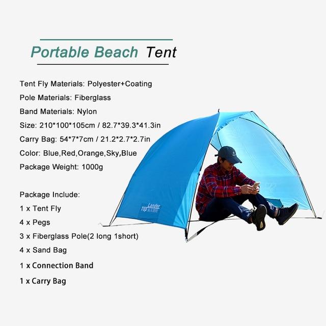 Lightweight Portable Sun Shelter Beach Tent Summer Outdoor Garden Sun Awning Sun Shade Canopy Easy Setup Camping Fishing Hiking 4