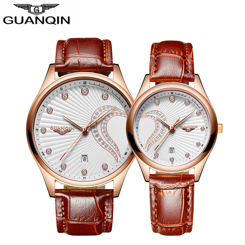 цены GUANQIN Couples Women Leather Watches Lovers Quartz Watch Men Brand Luxury Wristwatch Female Male Ladies casual Clock Hours