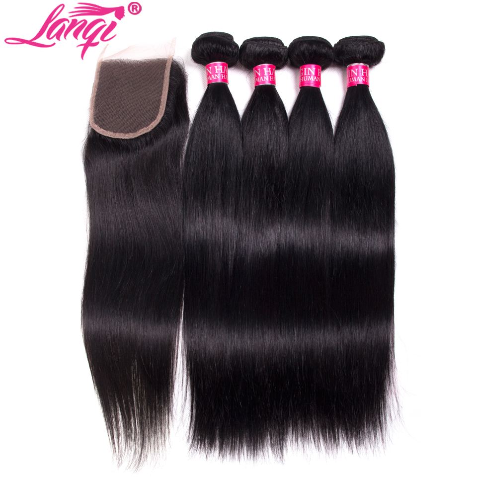 brazilian straight hair with closure straight remy human hair 4 bundles with closure virgin hair weave bundles with lace closure