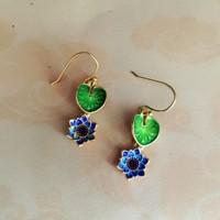 {Xia Yu sterling silver bearing}925 enamel lotus Chinese Cloisonne earrings earrings