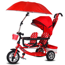 Детский тандемный трехколесный велосипед с зонтиком, 4 в 1 двойной детский трехколесный велосипед, 3 колеса велосипед для детей с баром безопасности