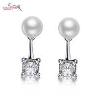 COLORFISH 1 25 Ct Square Solitaire Stud Earring White Pink Natural Pearl Ear Fashion Jewelry Genuine