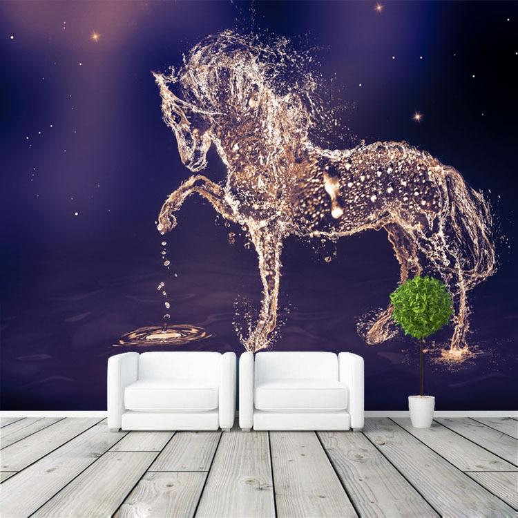 US $16.73 38% OFF|Fantasie pferd Fototapete Benutzerdefinierte Wandbild  Charming galaxy Tapete wandkunst Schlafzimmer Mädchen Kinderzimmer Dekor  Hause ...